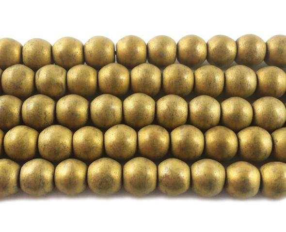 8mm Gold Hematite Matte Round Beads