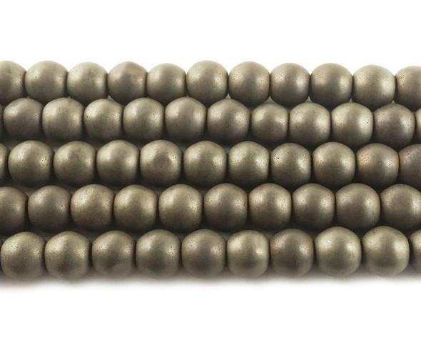 8mm Iron Gray Hematite Matte Round Beads