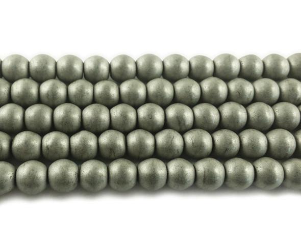 8mm Silver Hematite Matte Round Beads