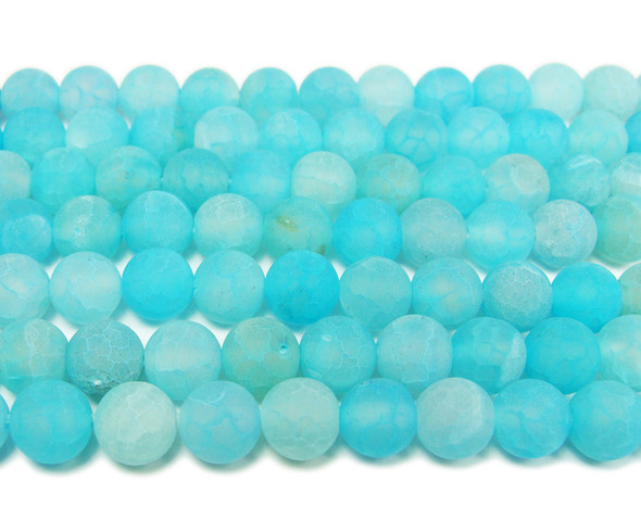 8mm 15.5 Inch Light Sea Blue Matte Agate Round Beads