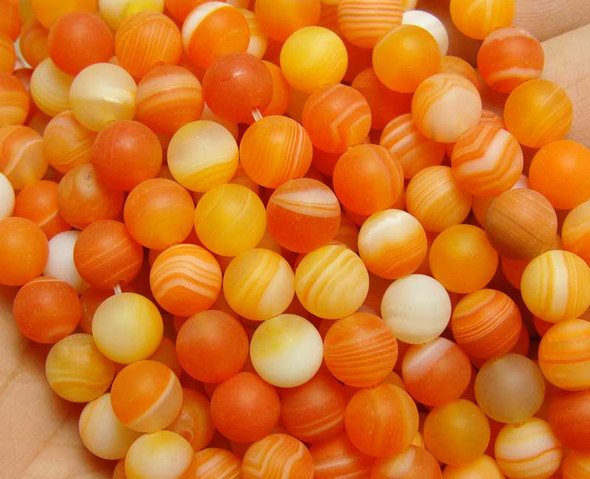 10mm  15.5 inch Orange red striped matte agate round beads