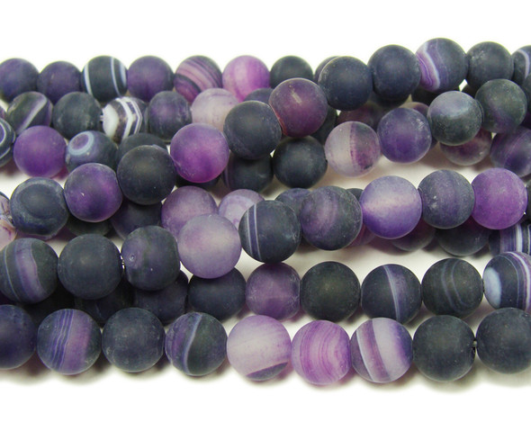12mm 15.5 Inch Purple Striped Matte Agate Round Beads