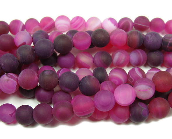 8mm 15.5 Inch Deep Pink Striped Matte Agate Round Beads