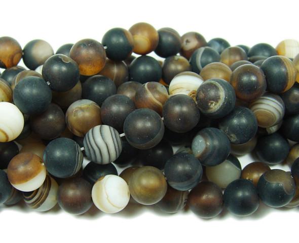 10mm 15.5 Inch Dark Brown Striped Matte Agate Round Beads