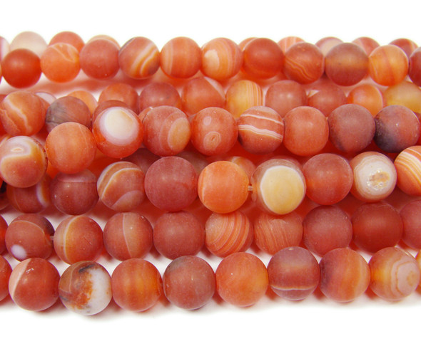 8mm  15.5 inch Red striped matte agate round beads