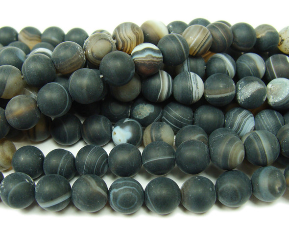 10mm  15.5 inch Black striped matte agate round beads