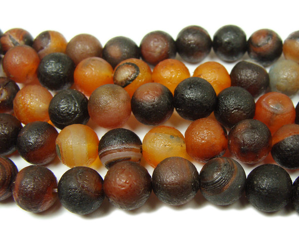 8mm 15.5 Inch Antiqued Dream Agate Round Beads