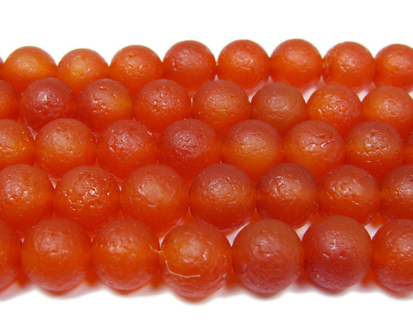 8mm 15.5 Inch Antiqued Red Agate Round Beads