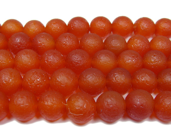 11.5-12mm 15.5 Inch Antiqued Red Agate Round Beads