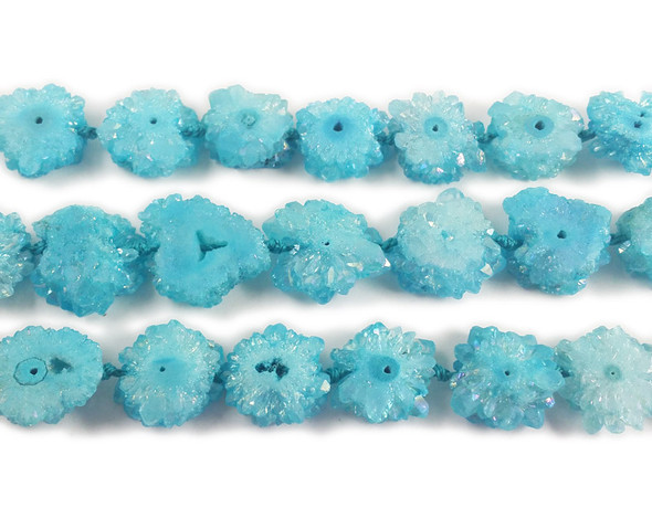 20x20mm Priced Per 2 Pieces Sky Blue Druzy Agate Cross Section Beads
