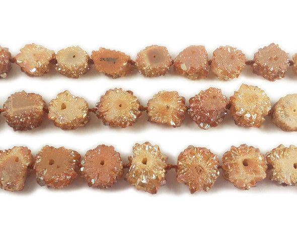 20x20mm Priced Per 2 Pieces Brown Druzy Agate Cross Section Beads