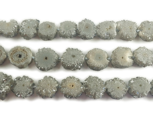 20x20mm  priced per 2 pieces Gray druzy agate cross section beads