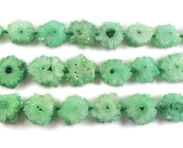 20x20mm  priced per 2 pieces Green druzy agate cross section beads