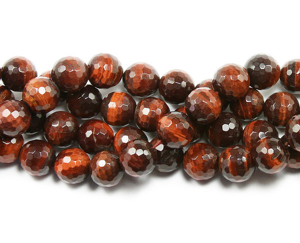 10mm Red tiger eye faceted round beads