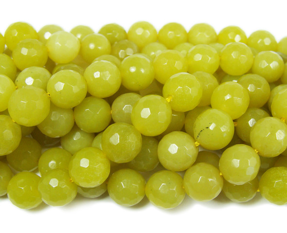 Olive jade faceted round beads