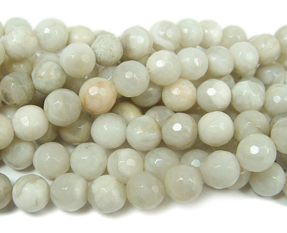 White crazy lace agate faceted round beads