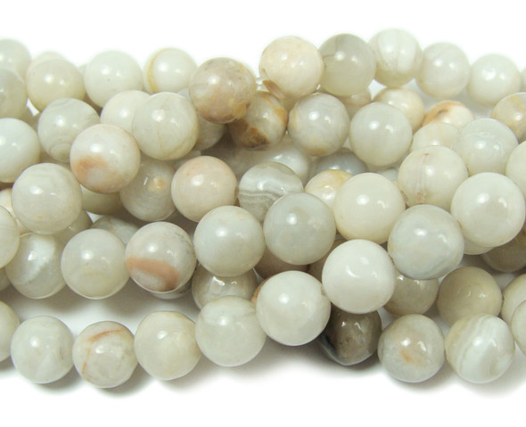 White crazy lace agate smooth round beads