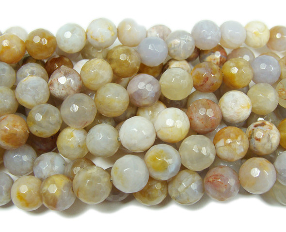 Australian agate faceted round beads