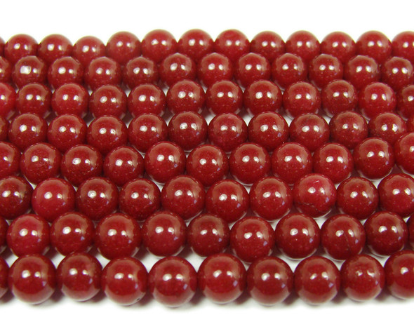 Ruby jade smooth round beads