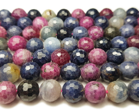 10mm Ruby sapphire faceted round beads