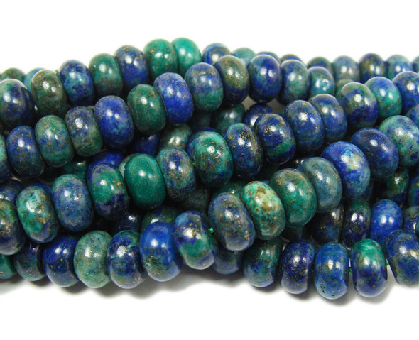 Azurite smooth rondelle beads (5x8mm,15.5 inches)