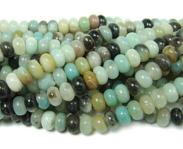 Amazonite smooth rondelle beads (4x6mm,15.5 inches)