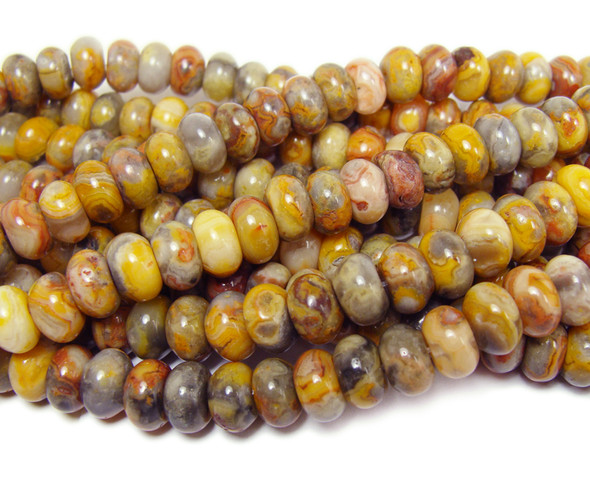 Crazy lace agate smooth rondelle beads (5x8mm,15.5 inches)
