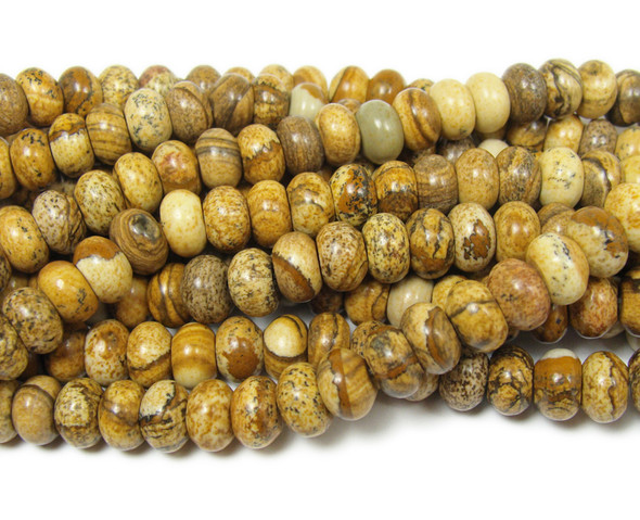 Picture jasper smooth rondelle beads (5x8mm,15.5 inches)