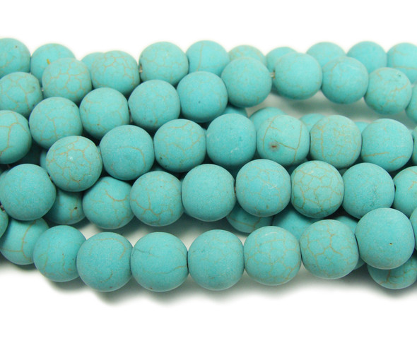 Howlite turquoise matte round beads