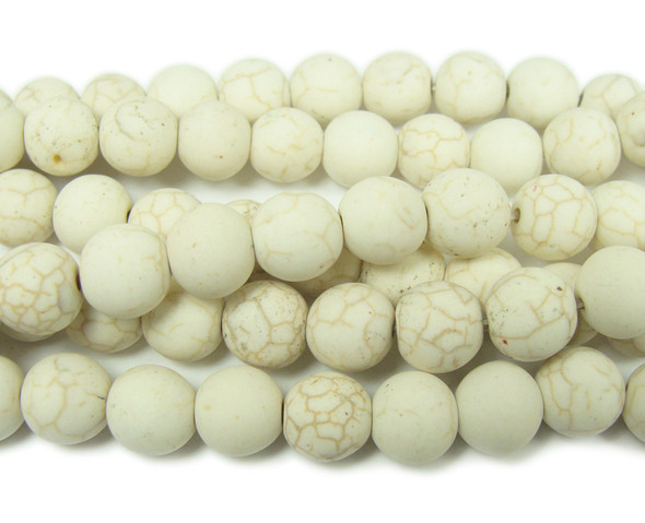 Natural white howlite matte round beads