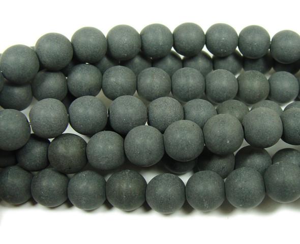 Black howlite matte round beads