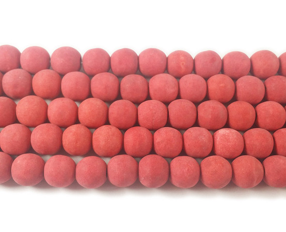 Orange red howlite matte round beads