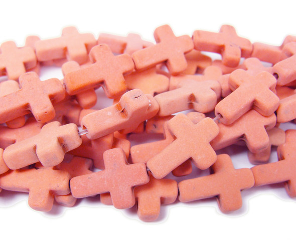 Orange howlite matte cross beads