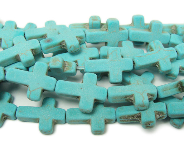 Turquoise howlite matte cross beads
