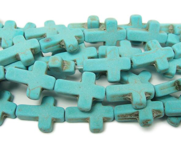 Turquoise howlite matte cross beads