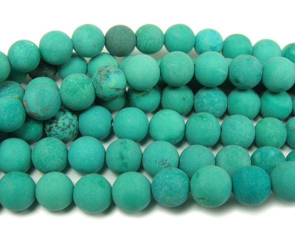 Chinese turquoise matte round beads