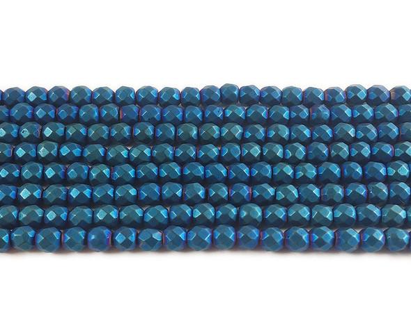 4mm Blue Hematite Matte Faceted Round Beads