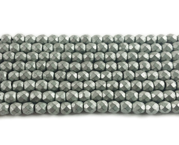 4mm Silver hematite matte faceted round beads