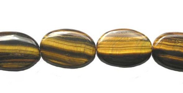 18x25mm Tiger Eye Puffed Oval Beads