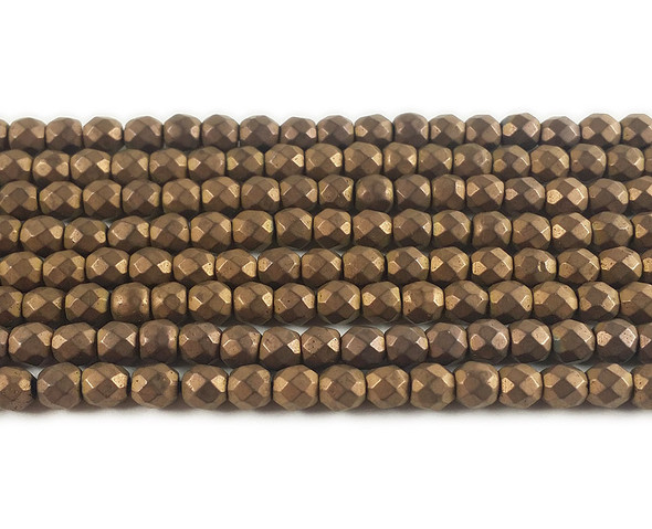 4mm Coffee Brown Hematite Matte Faceted Round Beads