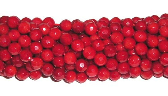 7mm  15.5 inches Red coral faceted round beads