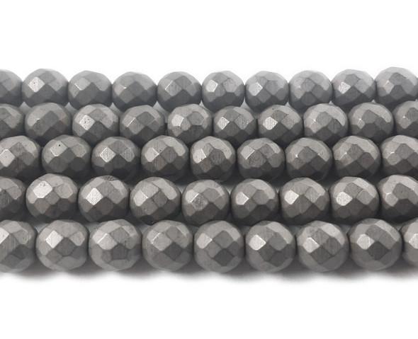 6mm Dark Gray Hematite Matte Faceted Round Beads