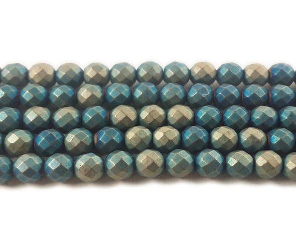6mm Multicolor Green And White Hematite Matte Faceted Round Beads