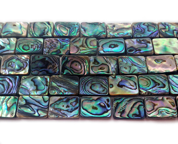 8x12mm Abalone shell double sided rectangle beads