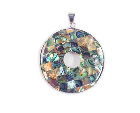 40mm Mosaic Abalone Shell Donut Circle Pendant