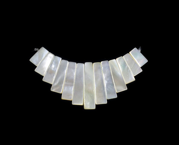 approx. 70x30mm  13 pieces White Mother of pearl shell stick collar pendant
