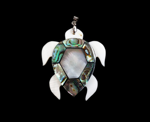 42x50mm Mosaic multi shell turtle pendant