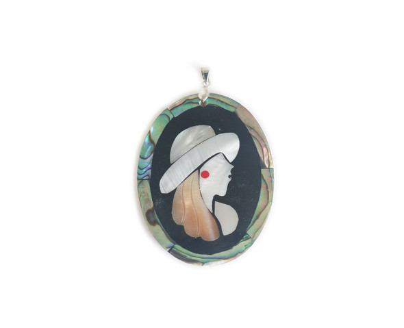 40x54mm Style B Multi Shell Lady Face Oval Pendant