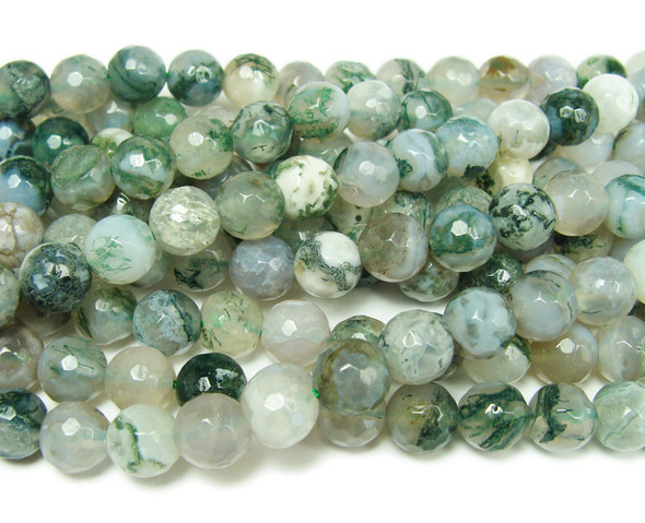 Tree agate faceted round beads