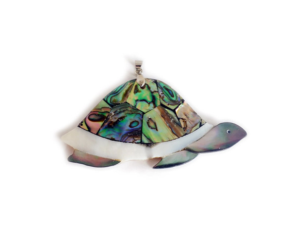 38x63mm Mosaic Multi Shell Sideways Turtle Pendant